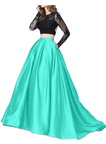 Green Long Sleeve Two Piece Prom Dress