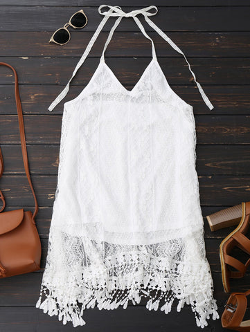 Sexy Halter Lace Fringed Backless Dress