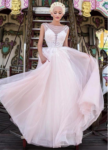 Organza Bateau Neckline A-line Wedding Dress With Lace Appliques & Beadings