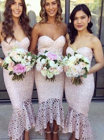 High-Low Pink Mermaid Sweetheart Lace Bridesmaid Dress