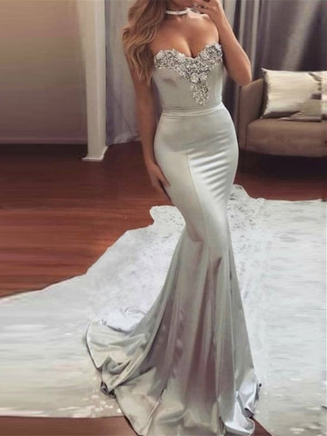 Silver Mermaid Sweetheart Beading Evening Dress
