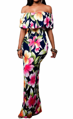 Flowers Off Shoulder Ruffle Party Homecoming Maxi Dress