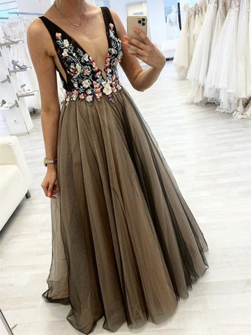 Tulle A Line 3D Flower V Neck Brown Coffee Appliques Prom Dress
