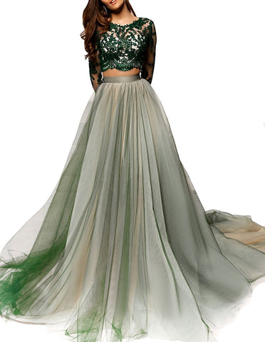 Two Piece Long Sleeves Evening Dress