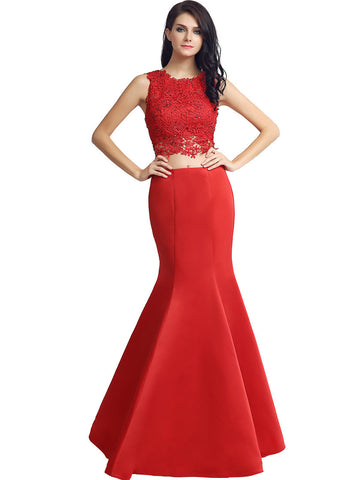 Graceful Satin & Lace Jewel Neckline Two-piece Mermaid Evening Dresses With Beadings