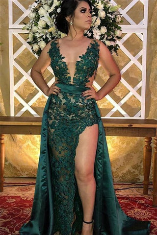 Side-Slit Sleeveless Green V Neck Appliques A-Line Prom Dress