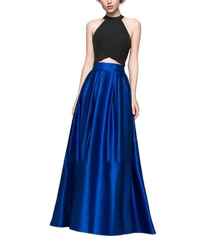 Satin Halter Vest High Waist Skirt Sleeveless Prom Dress