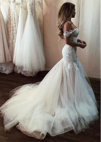 Tulle Off-the-shoulder Long Mermaid Wedding Dress