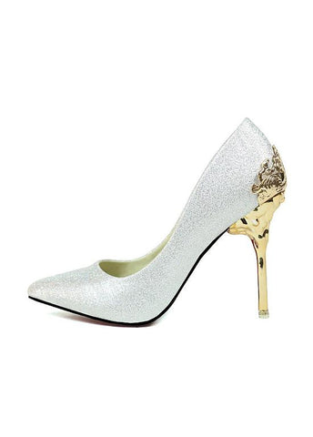 Chic Suede Upper Pointed Toe Stiletto Heel Wedding Shoes With Pattern