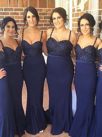 Navy Mermaid Spaghetti Straps Satin Bridesmaid Dress