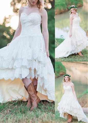 Fabulous Tulle Sweetheart Neckline Hi-lo A-line Wedding Dresses With Lace Appliques