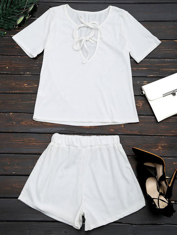 Cut Out Top and Shorts Two Piece Suit