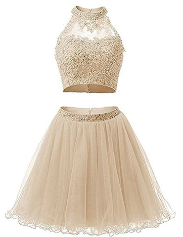 Two Piece Lace Bodice Short Homecoming Dresses