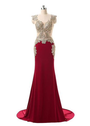 Red Charming Jersey Square Neckline Mermaid Evening Dresses With Rhinestones