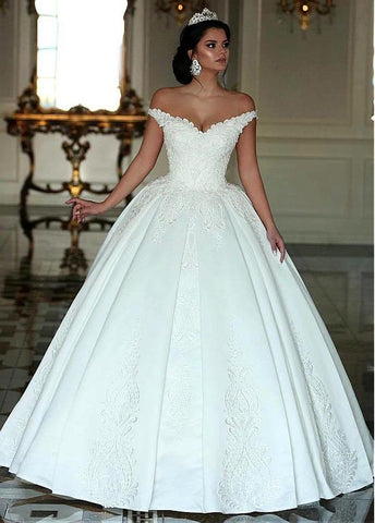 Beading Satin Off-the-shoulder Long Ball Gown Wedding Dress