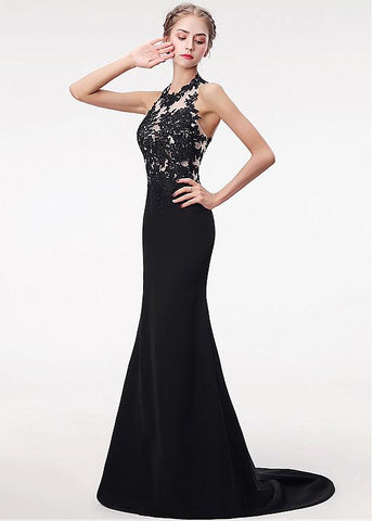 Halter Satin Black Mermaid Evening Prom Dress