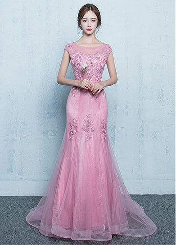 Lace Appliques Tulle Jewel Pink Mermaid Prom Dress