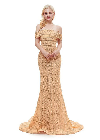 Lace Spaghetti Straps Gold Long Mermaid Evening Dress