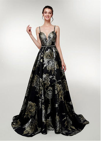 Spaghetti Straps Long Print Black A-line Prom Dress