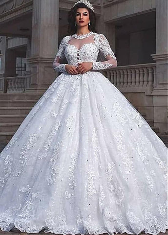 Tulle Jewel Beading Long Sleeve Ball Gown Wedding Dress