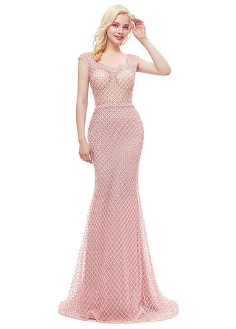 Pink Long Lace Jewel Mermaid Prom Evening Dress