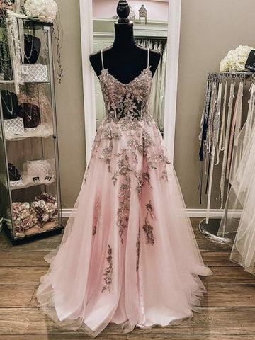 Tulle A Line Appliques Spaghetti Straps Pink Formal Prom Dress