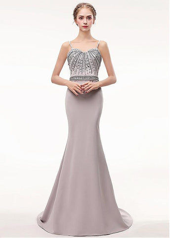 Bowknot Spaghetti Straps Long Champagne Mermaid Evening Dress
