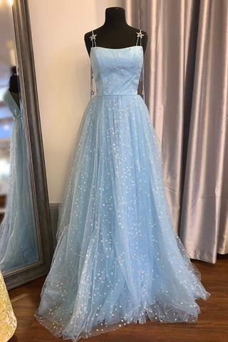 A-Line Light Sky Blue Spaghetti Straps Prom Dress with Appliques