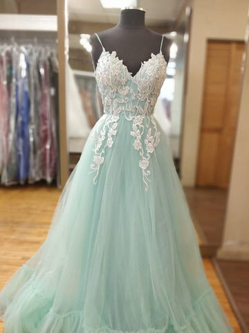Appliques Spaghetti Straps Mint Green Tulle A Line Prom Dress
