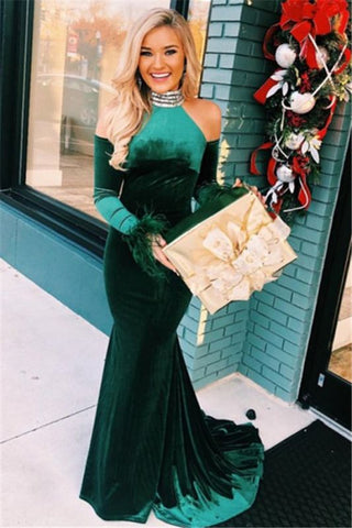 Long Sleeves Mermaid Green High-Neck Velvet Prom Dress With Feather