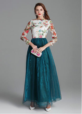 Modest Lace & Tulle Bateau Long Sleeve Green Prom Dress