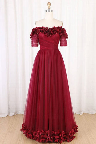 Off The Shoulder Flowers Burgundy Tulle Long Prom Dress
