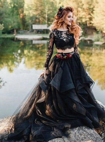 Long Sleeve A-Line Black Lace Two Piece Tulle Wedding Dress