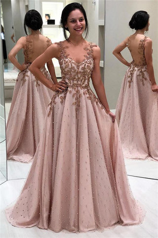 Champagne Tulle Appliques Beading Backless A-Line Prom Dress