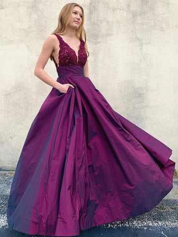 V Neck Open Back Purple Lace Long Prom Dress with Pockets