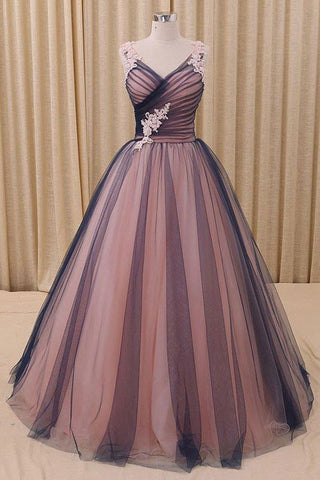 Black & Champagne V Neck Simple Tulle Long Prom Dress