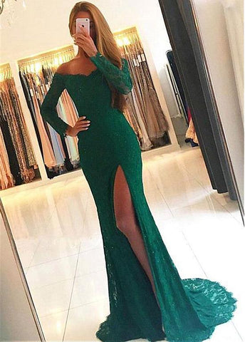 Green Lace Long Sleeve Mermaid Prom Dress With Slit