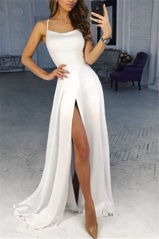 Spaghetti-Straps Side-Slit White Chiffon A-Line Prom Dress