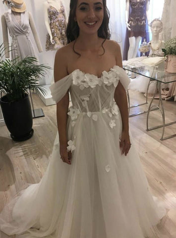 3D Flowers Beach Tulle Off the Shoulder Wedding Dress