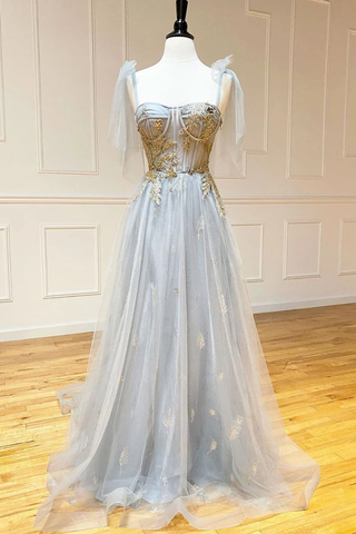 Beading Lace Up Sequin Gray V Neck Tulle Long Prom Dress