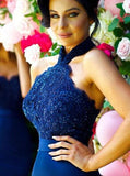 Open Back Mermaid Halter Navy Blue Bridesmaid Dress