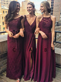 A-Line V-Neck Grape Chiffon Bridesmaid Dress