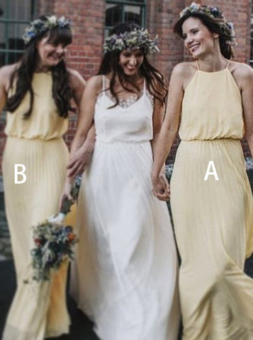 Halter Pleated Yellow Chiffon Bridesmaid Dress