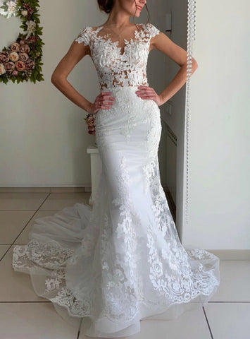 Cap Sleeve White Lace Appliques Mermaid Tulle Wedding Dress