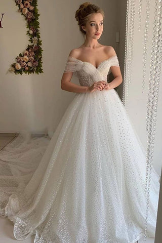 Beading Tulle White Off The Shoulder Beading Prom Dress