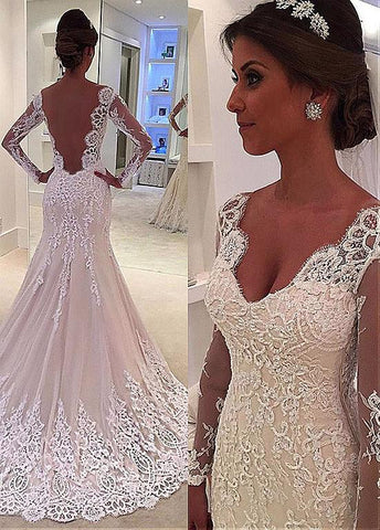Tulle V-neck Long Sleeve Lace Backless Mermaid Wedding Dress
