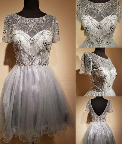 Cap Sleeve Light Gray Elegant Tulle Sequin Short Prom Dress