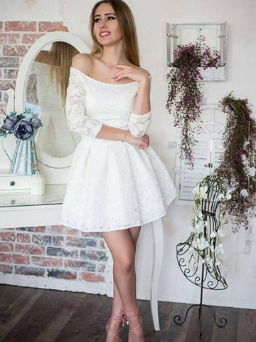 White Ruffles Off-the-Shoulder Lace 3/4 Sleeves Short Mini Homecoming Dress