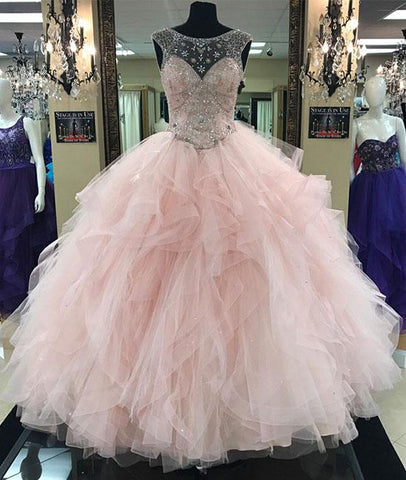 Pink Round Neck Tulle Beads Long Prom Sweet 16 Dress