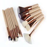 Wooden Handle Foundatation Makeup Brushes 15Pcs